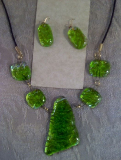 Green Apple Necklace and Earring Set