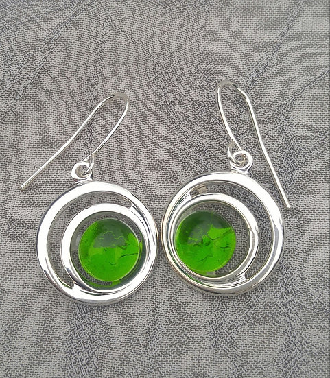 Peridot Spiral Earrings