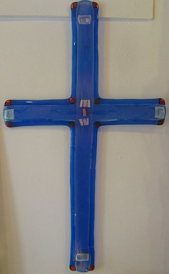 "Blue Cross, Red Accents 30"" tall"