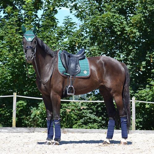 Dressage Irish Green Saddle Pad with Beige Piping