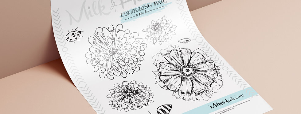 Spring Time floral - Colouring page