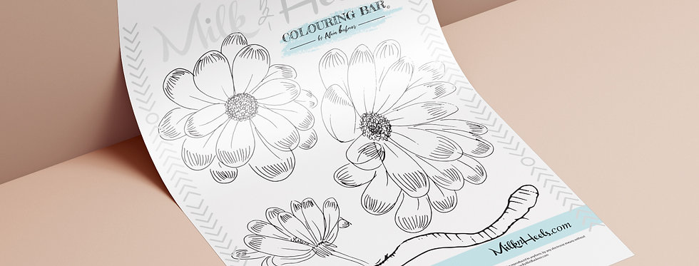 Spring flowers and worms - Colouring page