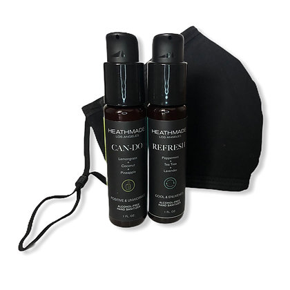 Black Mask with Travel Hand Sanitizer Set