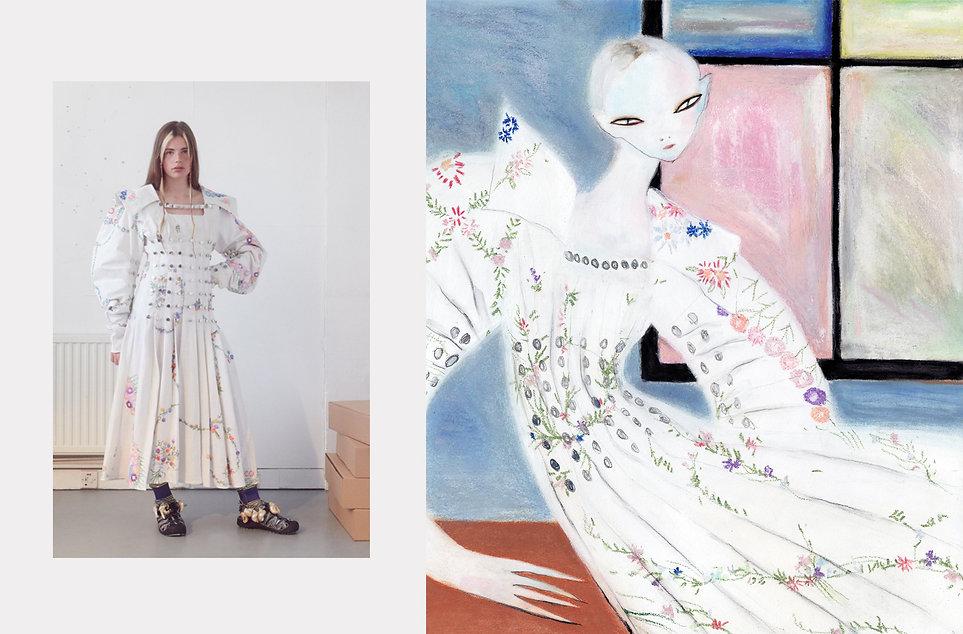 Chopova Lowena A/W 20 Womenswear / Efrosinya Anisenkova Self-Isolation Self-Portrait in Chopova Lowena A/W 20 for SHOWstudio