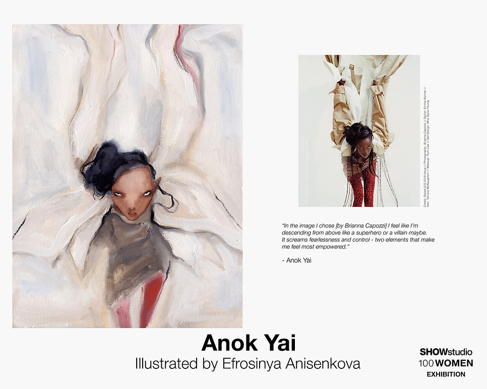 Anok Yai Illustrated by Efrosinya Anisenkova for SHOWstudio '100 Women' exhibition