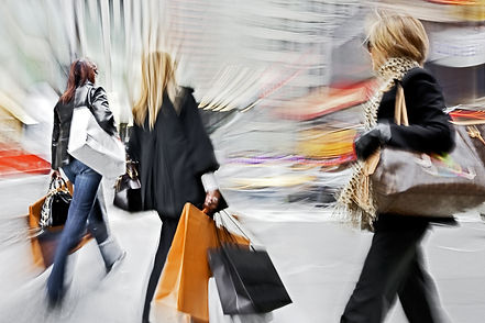 shopping in the city in motion blur styl