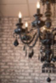 Wakefield RI's Salon Bella's statement chandelier