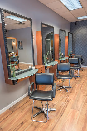 Wakefield RI's Salon Bella stylists' stations