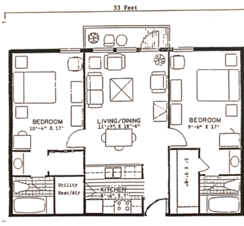 Two Bedroom Full Kitchen & Deck 930 sq.ft