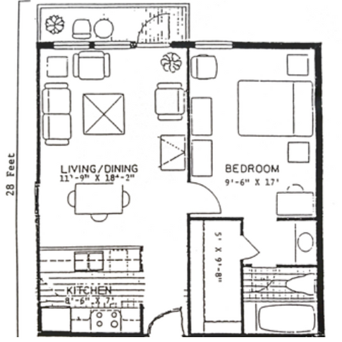 One Bedroom Full Kitchen & Deck 644 sq.ft