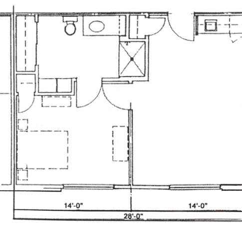 One Bedroom Handicap 540 sq.ft