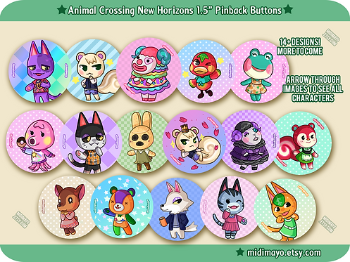 """ACNH: 1.5"""" Pinback Buttons"""