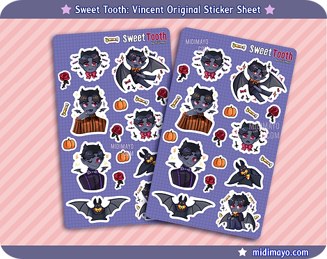 Sweet Tooth: Original Halloween Vampire Bat Sticker Sheet