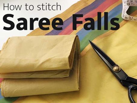How to stitch saree falls