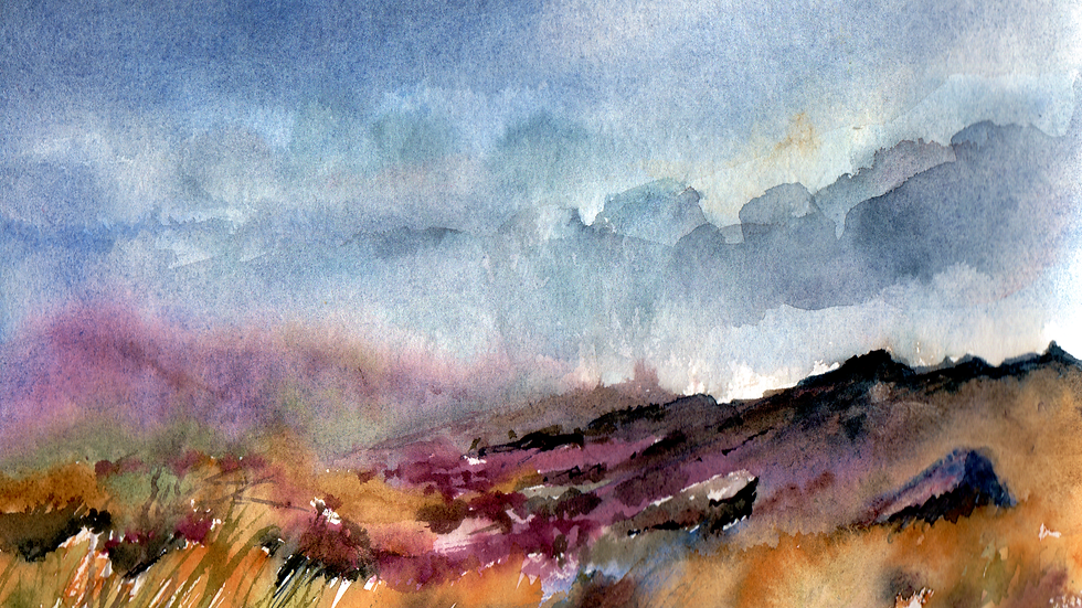 Moorland rain watercolour