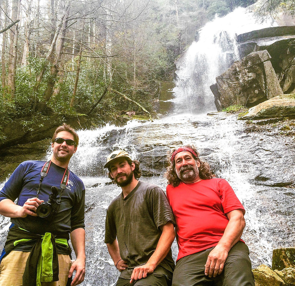 Filmmaker Ryan Leighton with Karl and Steve Berger on the Appalachian Trail in Roan Mountain, Tennessee