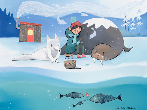 #77 Ice Fishing- Art Print