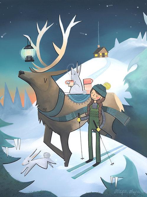 Elk and Skier Girl