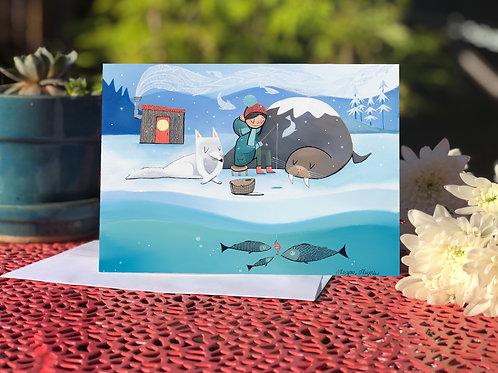 #77 Ice Fishing- Blank Card