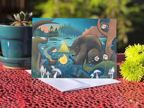 #78 Campfire Bear- Blank Card