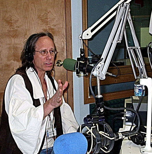 Mark telling a story on the radio.