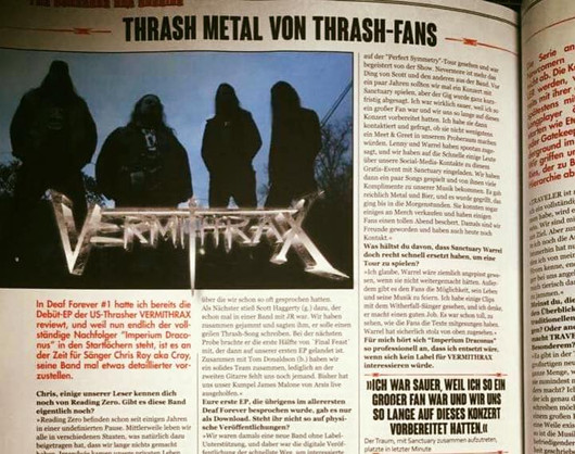 Germany's Deaf Forever magazine Interviews Vermithrax in the August Issue