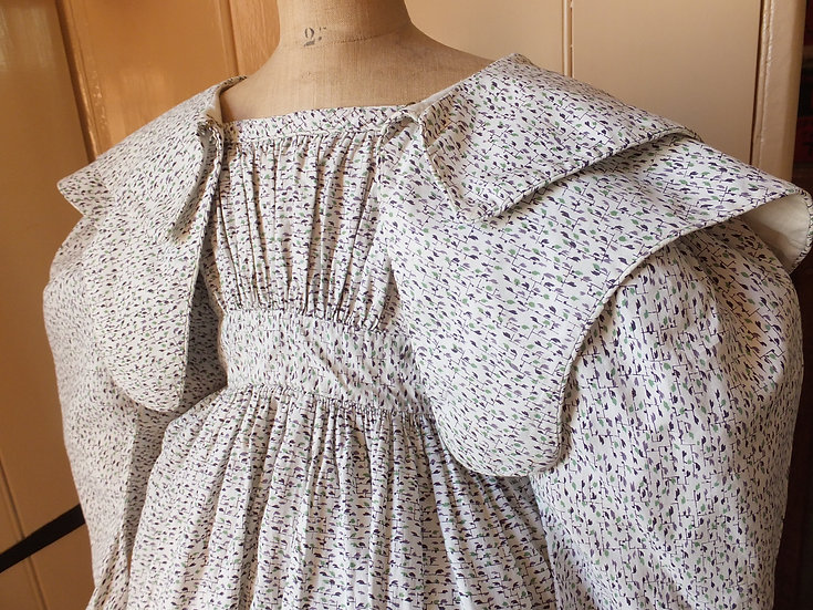 C1826-33 printed tiny gown with matching pelerine