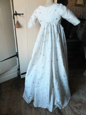 Rare 1780's-90's silk embroidered gown in transition