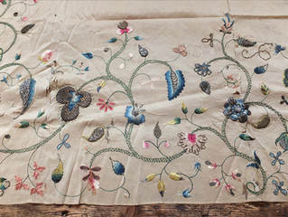 Learning embroidery from a mid 18th Century silk apron