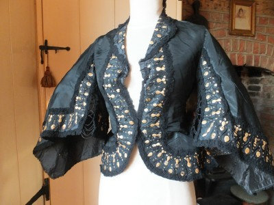 RESERVED Rare 1850's straw work jacket for crinoline