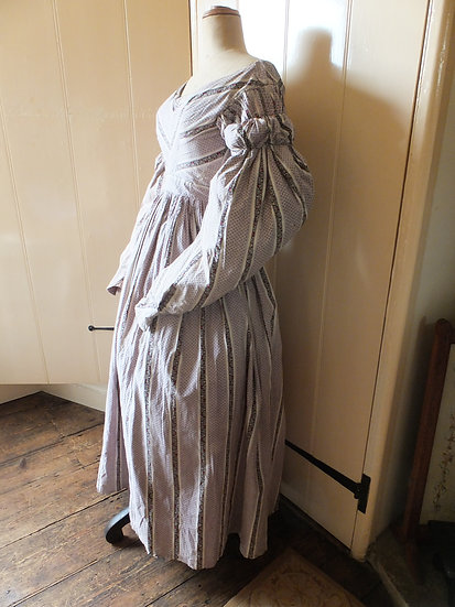 Lilac print mid 1830's Romantic era gown