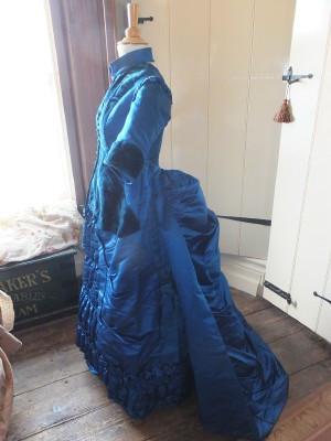 Victorian blue silk gown