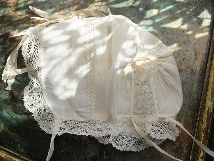 Superb baby cap with 1730-40 Valenciennes lace insertion