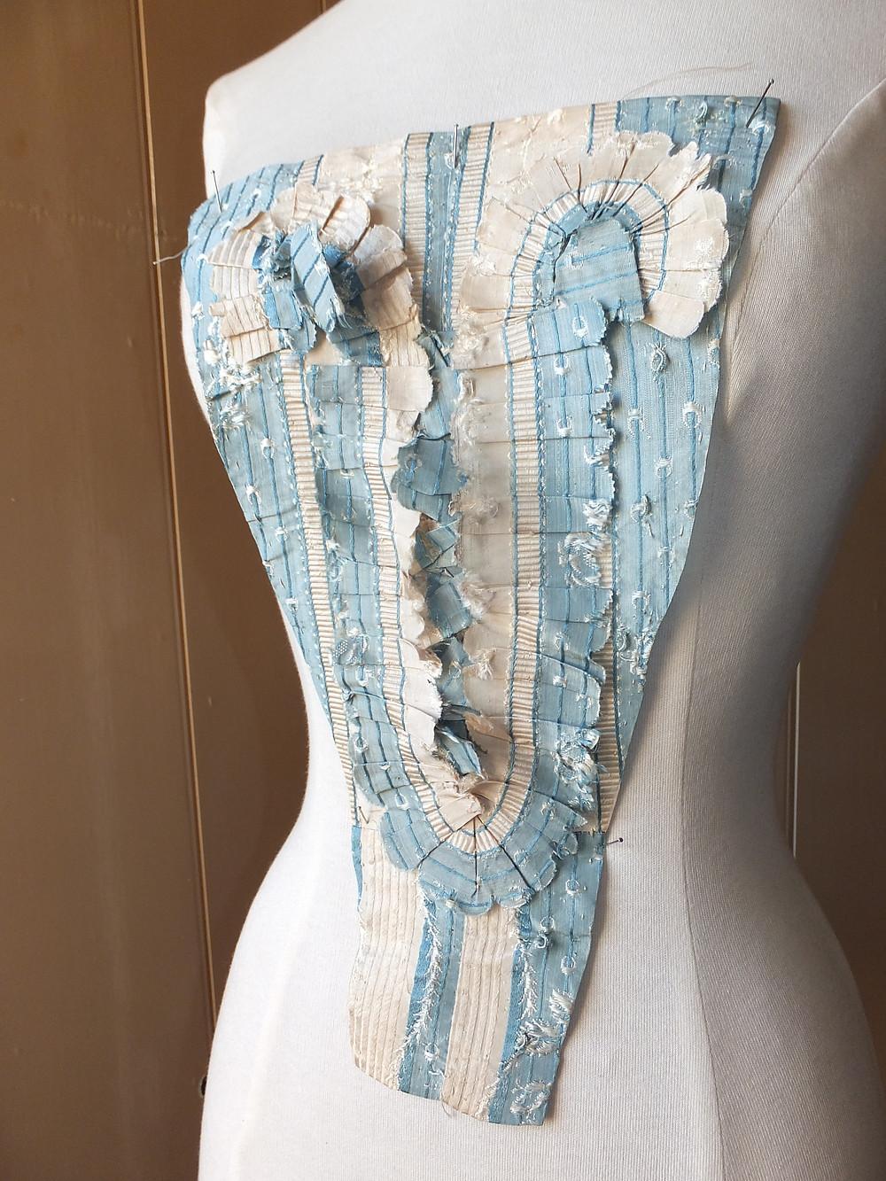 Georgian blue silk stomacher