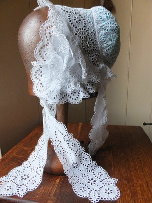 Height of Fashion! Crinoline era day cap of Broderie Anglaise