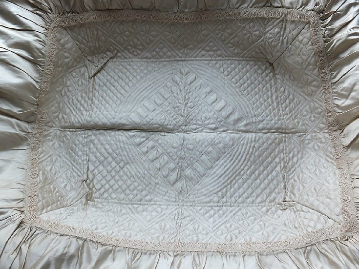 Extremely rare mid 18thC infant Layette basket lining
