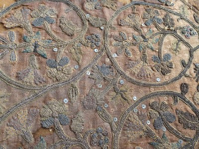 Extraordinary fragment of early 17th Century clothing embroidery