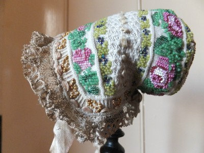 It's a Christening cap! Rare,early 19th Century bead & knit German cap