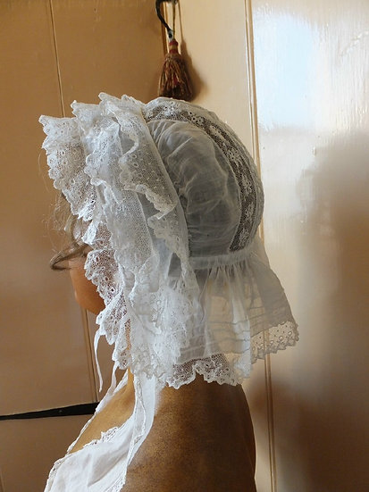 Early Victorian indoor cap with hand made lace & embroidery