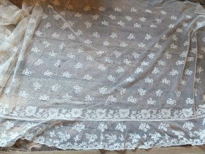 So romantic, c1825-30 needlerun lace over skirt & matching sleeves
