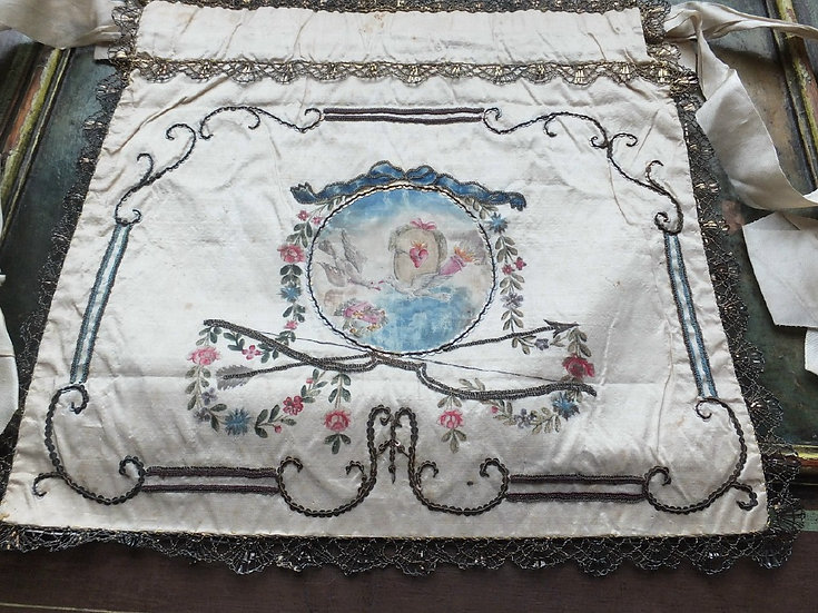 Napoleonic Era Love Story! Painted & embroidered Reticule Workbag