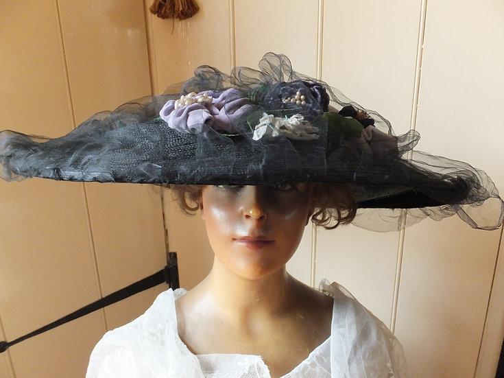 Edwardian 'Gainsborough' hat Suffragette colours