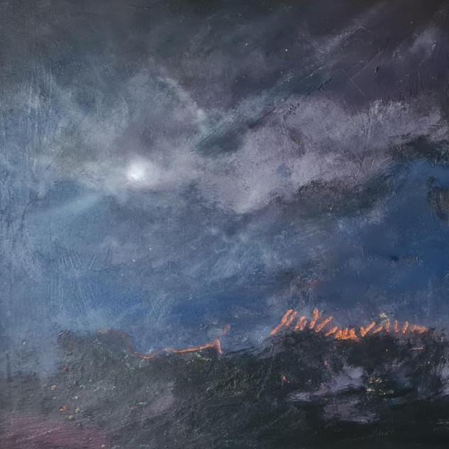 Månelys ved Auderød Havn