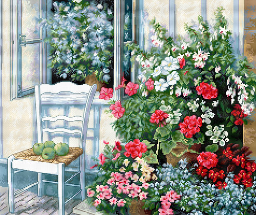 BU4017 Terrace with flowers - Cross Stitch Kit