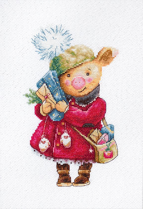 Christmas pig - Counted cross stitch kit
