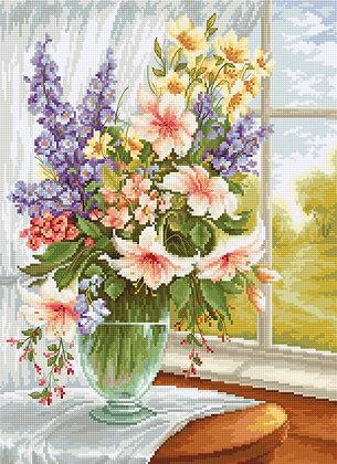 BU4015 Flowers next to the window - Cross Stitch Kit