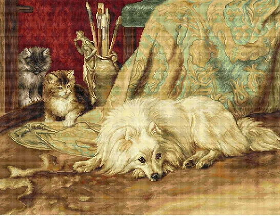G582 The Dog and the Cats - Petit Point