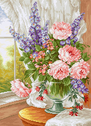 BU4016 Roses and Delphiniums - Cross Stitch Kit