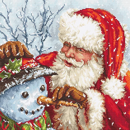 LETI 919 Santa Claus and Snowman - Cross Stitch Kit LETISTITCH