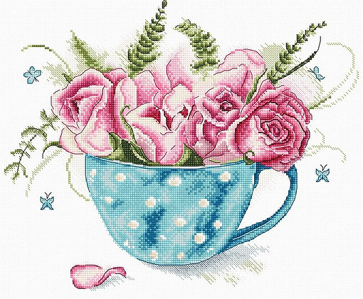 LETI916 A Cup of Roses - Cross Stitch Kit LETISTITCH